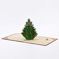 Thiệp nổi 3D handmade Cây thông trong ngày Giáng Sinh- Christmas tree size 15x15cm CN015