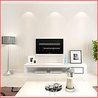 Giấy dán tường vân chỉ trắng có keo sẵn khổ rộng 45cm, giấy decal dán tường phòng khách màu trắng sang trọng