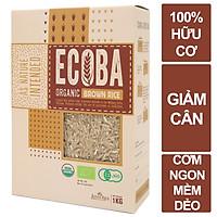 Gạo lứt nâu hữu cơ cao cấp/ECOBA Kim Mễ 1kg - Gạo lứt giảm cân - Cơm ngon mềm dẻo