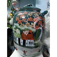 Hũ đựng rượu, gạo màu xanh vẽ phong cảnh Bát Tràng loại 20L( 15kg gạo)