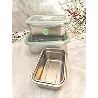 Bộ 3 khay inox 304 chứa đựng thực phẩm ngăn mát/ ngăn đông lạnh Tặng 1 rổ hình tim