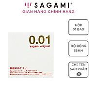 Bao cao su Sagami 001 - Siêu mỏng - Non Latex - Hộp 1 chiếc