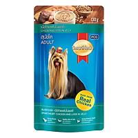 Đồ Ăn Cho Chó Vị Thịt Gà Miếng Nấu Xốt SmartHeart (Gói 130g)