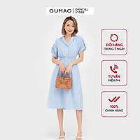 Đầm dáng xòe nữ thiết kế  eo chun cổ lật phối nút GUMAC DB572