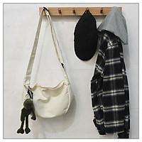 Túi ToTe đeo chéo nam nữ vải canvas, phong cách đường phố dành cho học sinh sinh viên