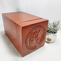 Hộp đựng trà gỗ hương chữ phúc nổi - hộp đựng trà gỗ hương