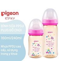 Bình sữa Pigeon, Bình sữa Pigeon Cổ rộng Nội địa nhật 160ml/240ml,  Nhựa PPSU, Hàng chính hãng