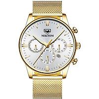 đồng hồ nektom 8196 vàng trắng