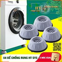 Bộ 04 chân đế cao su chống rung máy giặt - HT SYS - Đế chống rung máy giặt - Đế chống ồn máy giặt, máy sấy,tủ lạnh, bàn ghế + 01 Sét 3 móc dính dán tường vàng tài lộc HT SYS