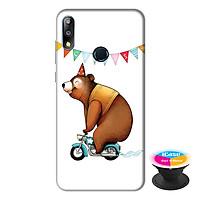 Ốp lưng điện thoại Asus Zenfone Max Pro M2 hình Chú Gấu Đạp Xe tặng kèm giá đỡ điện thoại iCase xinh xắn - Hàng chính hãng