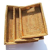 Bộ khay đựng đồ tiện dụng bằng mây đan thủ công - Hình chữ nhật & Hình bầu dục