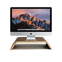 Kệ màn hình máy tính, Bàn kê màn hình máy tính, Kệ kê màn hình IMac bằng gỗ Plywood uốn cong - Phủ ngoài  bằng Laminate chống trầy - Màu gỗ Grey Walnut - MSM0201