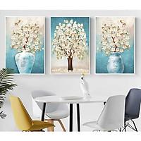 Set 3 tranh canvas hoa trắng nhỏ nhắn nền xanh lợt HO0037
