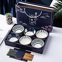 (tặng 06 đôi đũa trúc) Bộ Chén Bát Ăn Cơm Phong Cách Nhật Bản - Hộp đẹp, xách tay làm quà biếu lịch sự, trang nhã, ấn tượng