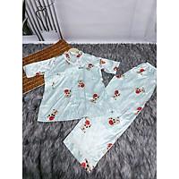 ồ Bộ , Đồ Ngủ Satin loại 1 quần dài Rumyh01 Họa tiết dễ thương ảnh chụp trực tiếp , Size M L
