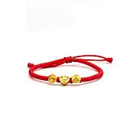 Vòng tay handmade Vàng 24K Khánh chữ Tài phối Hoa hồng vàng - ANCARAT - C0030