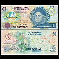 Tờ tiền Bahamas 1 Dollar năm 1992 , kỷ niệm 400 năm Columbus tìm ra châu Mỹ - mới 100% UNC - tặng kèm bao lì xì