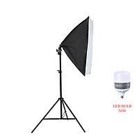 Bộ đèn studio chụp ảnh sản phẩm, quay phim, livestream chuyên nghiệp, bộ gồm chân đèn 2m kèm softbox 50x70cm, bóng đèn Led Bulb