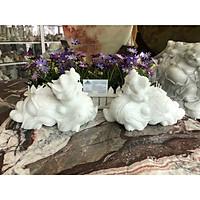Cặp Tỳ Hưu phong thủy đá cẩm thạch trắng - Dài 25 cm