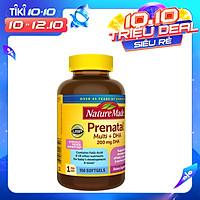 Viên uống Nature Made Prenatal Multi + DHA 200mg 150 Viên của Mỹ, bổ sung vitamin và khoáng chất cho mẹ bầu, tăng cường dưỡng chất giúp bé khỏe mạnh về thể chất trí não, giảm nguy cơ dị tật bẩm sinh, giảm nguy cơ sảy thai
