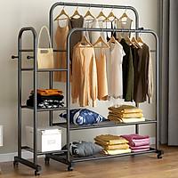 Giá treo quần áo hiện đại Thép carbon 2 thanh 5 tầng Để Đồ VANDO Có Bánh Xe Tiện Lợi, Giá Kệ Treo Đồ cao cấp, siêu chịu lực 150kg