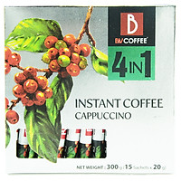 Cà phê hòa tan 4 in 1 Cappuccino B&V Coffee - Hộp 15 gói x 20g - Hương vị chuẩn gu Italian