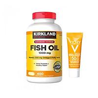 Thực phẩm bảo vệ sức khỏe Viên dầu cá Kirkland Signature Fish Oil 1000mg từ Mỹ, bổ sung Omega-3, DHA và EPA - 400 Viên Tặng kèm kem chống nắng Vichy Ideal Soleil (3ml) không trôi không nhờn rít, SPF 50 PA+++