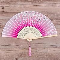 Quạt xếp cổ trang đào phủ hồng nan 21cm phong cách Trung Quốc