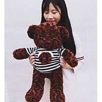 Gấu bông Tedy áo kẻ màu nâu đen - size 70cm