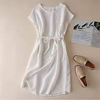 Đầm suông linen tay hến rút eo LAHstore, thời trang xuân hè 2021 - Trắng
