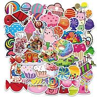 Sticker 50 miếng hình dán Candy World