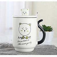 Cốc in hình mèo siêudễ thương có nắp đậy tặng kèm muỗng inox tiện ích - giao họa tiết và màu sắc ngẫu nhiên