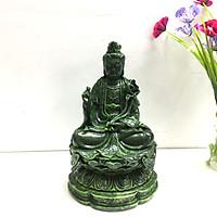 Tượng Đá Phật Đại Thế Chí Bồ Tát - Cao 19cm - Màu Xanh Lục Bích