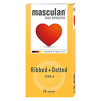 Bao Cao Su Masculan Das Kondom Ribbed + Dotted (10 Cái / Hộp)