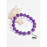 Vòng tay phong thủy đá thạch anh tím charm hoa 10mm mệnh hỏa , thổ - Ngọc Quý Gemstones