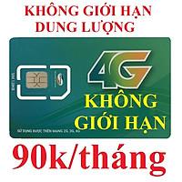 Sim 4G Viettel SG90 - Không giới hạn dung lượng (9Gb tốc độ 4G, sau đó dùng không giới hạn tốc độ 3G 1Mbs, xem youtube facebook mượt không bị đứng). Nạp 90k/tháng