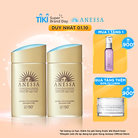Bộ đôi 2 Kem chống nắng dạng sữa dưỡng da bảo vệ hoàn hảo Anessa Perfect UV Sunscreen Skincare Milk SPF 50+ PA++++ 60ml