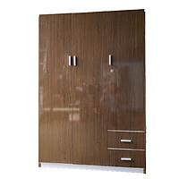 Tủ nhựa đài loan 3 cánh đựng quần áo cao cấp _màu nâu gỗ cao 2mx1m25