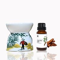 Tinh dầu Quế Kepha 100ml - Cassia Essential oil. Tặng đèn xông bằng nến Kepha hoạ tiết mẹ quê - Tinh dầu nguyên chất 100% - Khử mùi, lau nhà, làm sạch không khí