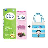 Bộ đôi Lotion Tẩy Lông Cléo Avocado 90ml + Sữa dưỡng dịu da sau tẩy lông Cléo - giúp trắng da 50g -  TẶNG KÈM TÚI XÁCH TIỆN LỢI