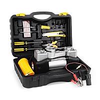 Máy bơm hơi mini 2 xilanh 12v-150psi - Bơm hơi mini kèm phụ kiện vá lốp, kẹp ác quy, hộp đựng.