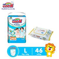 Tã Quần Goo.n Premium Cao Cấp Gói Cực Đại Size L46 (46 Miếng) + Tặng bịch khăn ướt Goo.N Premium 80 miếng cao cấp