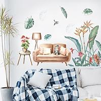 Decal dán tường lá xanh hoa sắc màu trang trí phòng khách, phòng ngủ đẹp