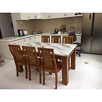 Bộ bàn ăn mặt đá nhập khẩu 1M4 6 ghế