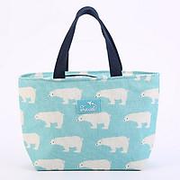 Túi đựng cơm vải Oxford SIZE LỚN hình cá voi lót giấy nhôm (size 23x12x21cm)