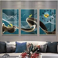 Tranh treo tường, tranh đồng hồ NT225 bộ 3 tấm ghép