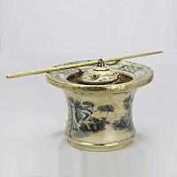 Điếu bát men rạn bọc đồng vẽ Sơn Thủy dáng cao gốm sứ Bát Tràng (điếu hút thuốc lào)