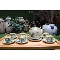Bộ ấm trà men bóng vẽ trúc xanh