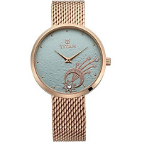 Đồng hồ đeo tay hiệu Titan 95083WM01; kèm bộ trang sức gồm 4 bông tai và hộp