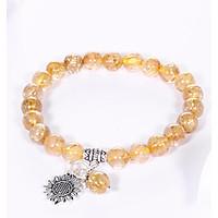 Vòng tay thạch anh tóc vàng mix hoa hướng dương bạc hạt đá 7mm mệnh thủy, kim - Ngọc Quý gemstones
